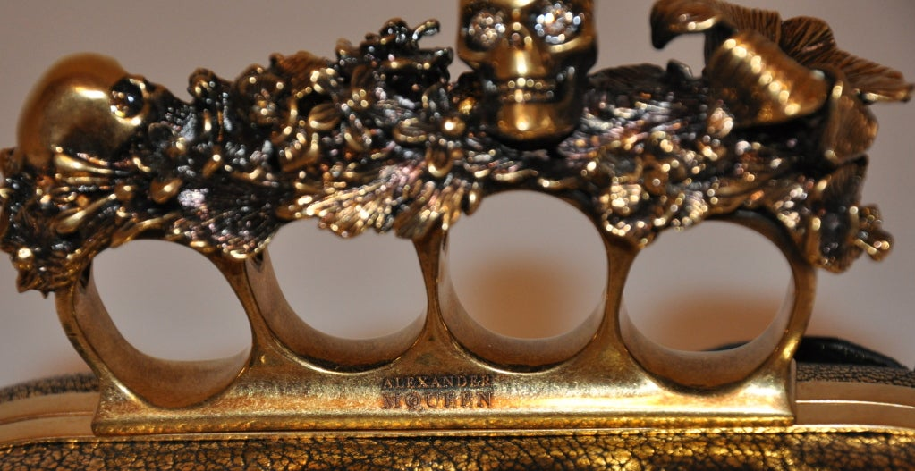 "Alexander McQueen Bronze textured ""Leaf"" motif clutch 5"