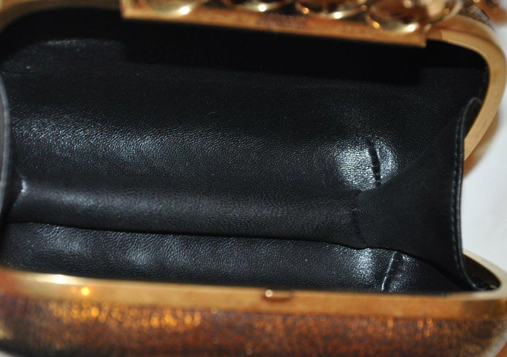 "Alexander McQueen Bronze textured ""Leaf"" motif clutch 6"