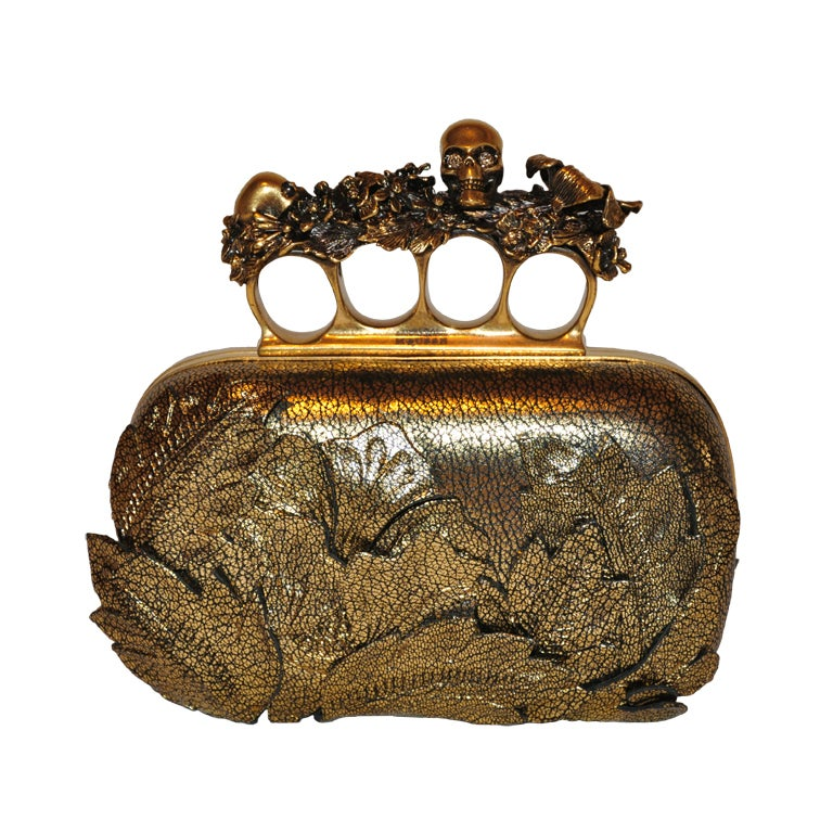 "Alexander McQueen Bronze textured ""Leaf"" motif clutch 1"