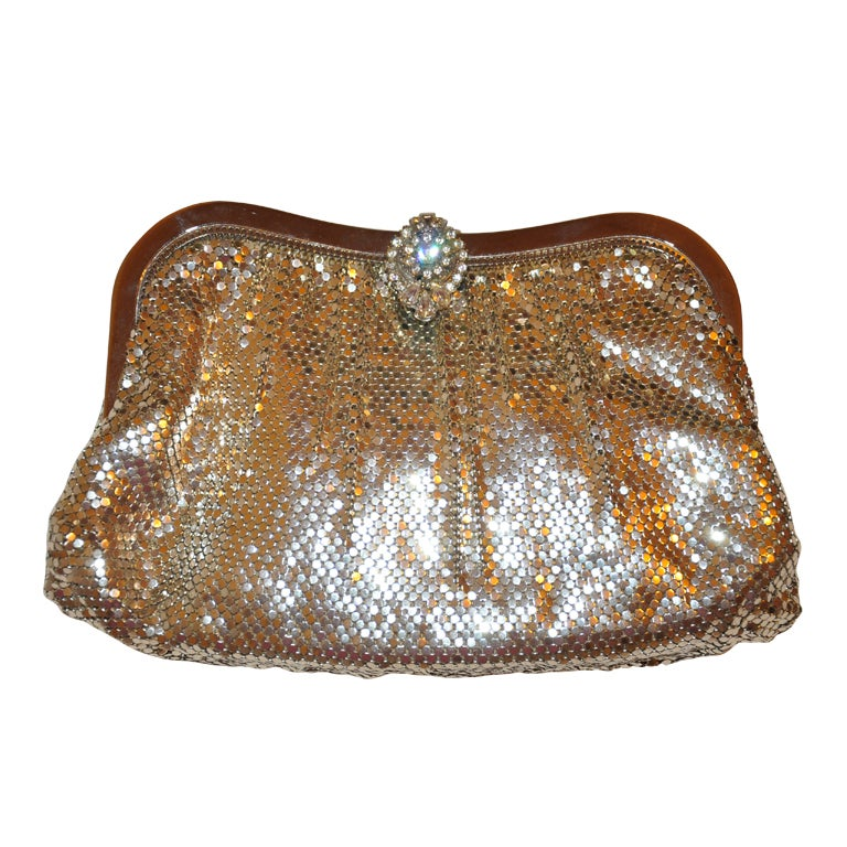 Whiting & Davis silver mesh clutch with matching change purse