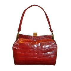 Deep-Red Alligator with Gold Hardware Handbag
