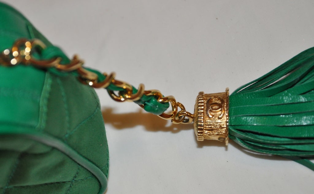 Blue Chanel Quilted Emerald Green Silk Evening Clutch with Tassle For Sale