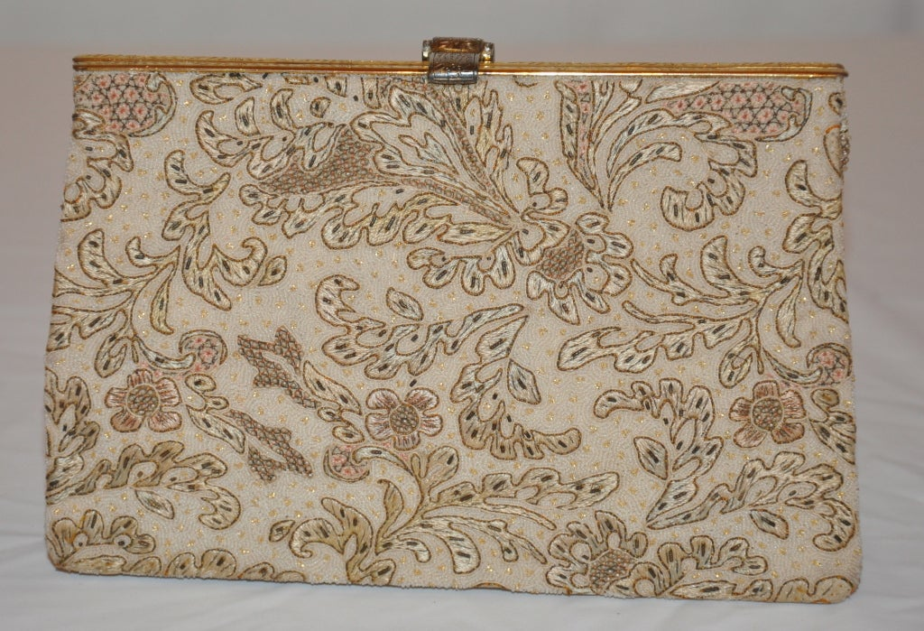Rare Silver with gold overlay micro embroidered clutch 2