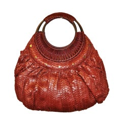 Burgundy Pylon-Skin Fuuly Lined Handbag