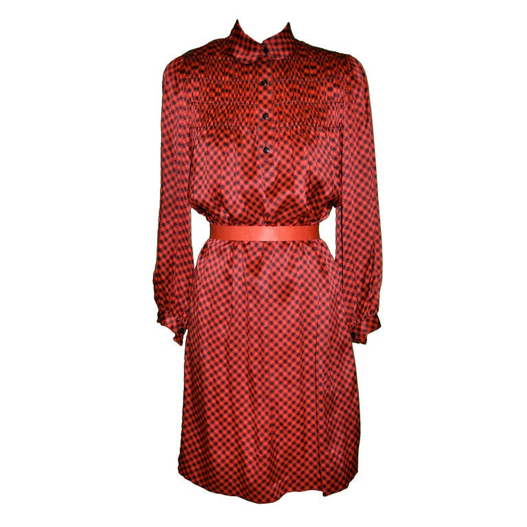 Geoffrey Beene checkered red and black dress