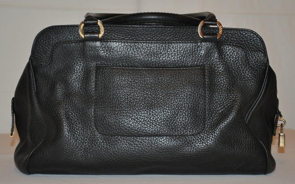 Women's TOD's Black Textured Calfskin Leather Handbag For Sale