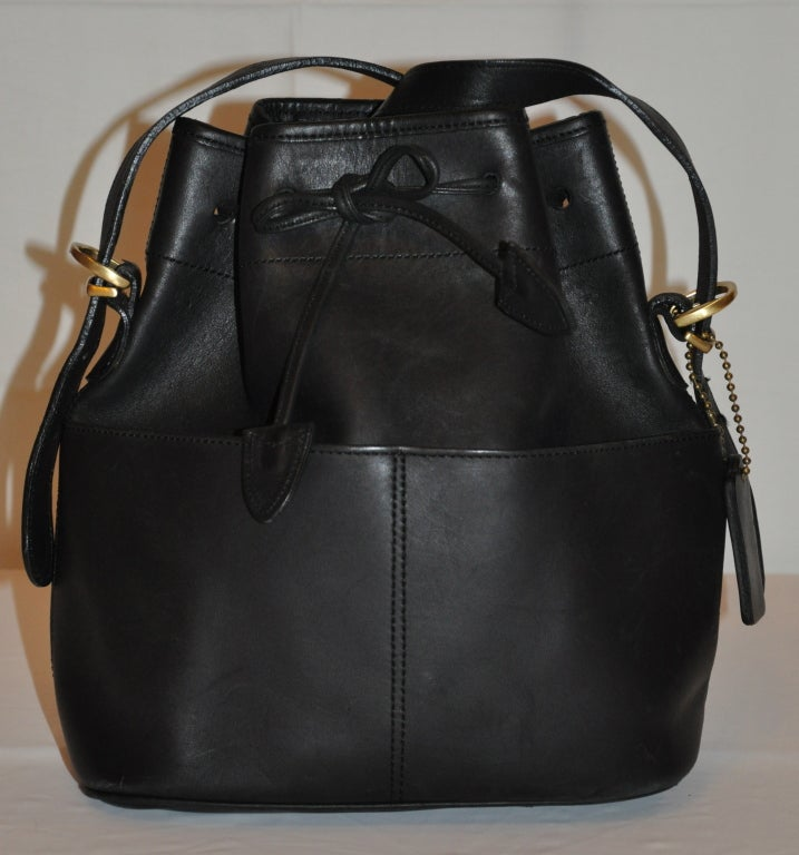 Coach Black Calfskin Hobo Drawstring with Detachable Straps Bag 2