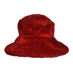 Saks Fifth Avenue Red Faux-fur wide brim hat