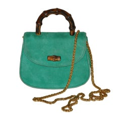 Gucci Mini suede handbag with bamboo
