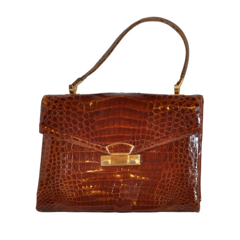 Golden Brown Alligator-Skin Sectional Handbag