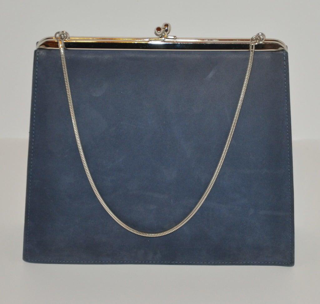 Denmark's Bon Gout Steel Blue Suede Handbag For Sale at 1stdibs