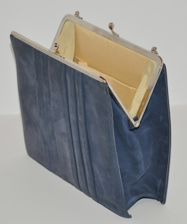 Denmark's Bon Gout Steel Blue Suede Handbag 3