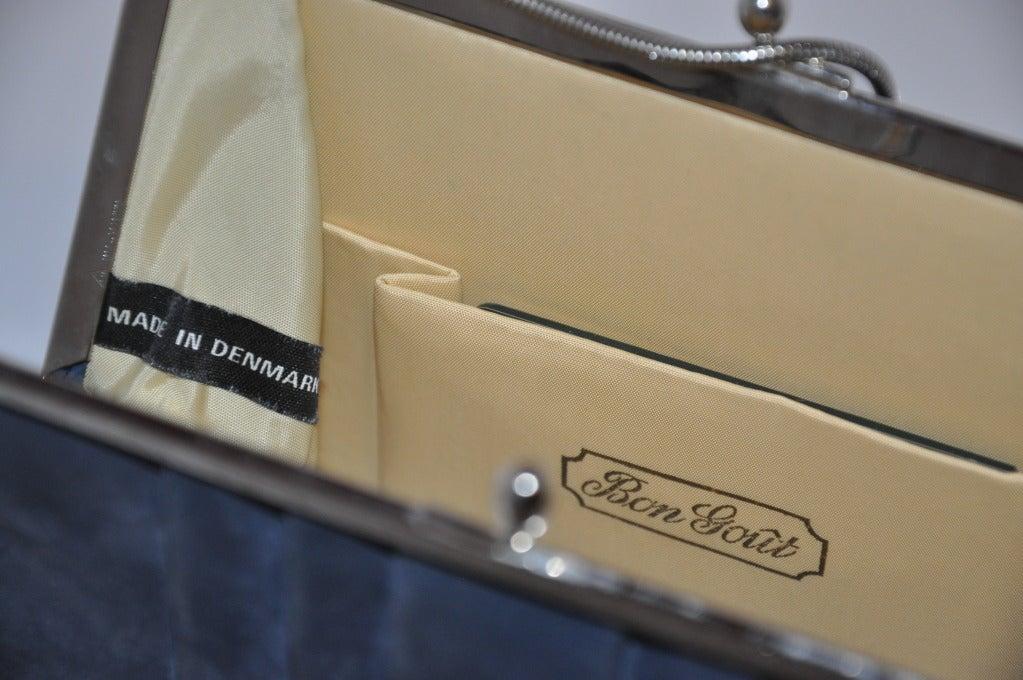 Denmark's Bon Gout Steel Blue Suede Handbag 4