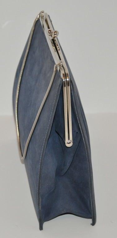 Denmark's Bon Gout Steel Blue Suede Handbag 5