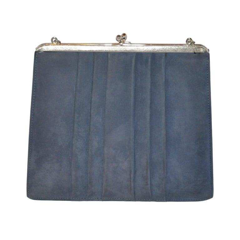 Denmark's Bon Gout Steel Blue Suede Handbag 1