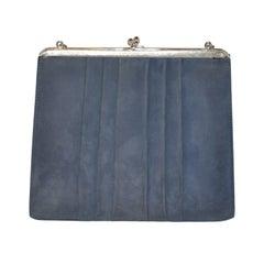 Denmark's Bon Gout Steel Blue Suede Handbag