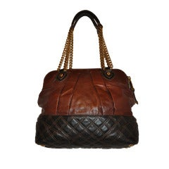 Marc Jacobs Coco Brown with Quilted Brown Leather Handbag