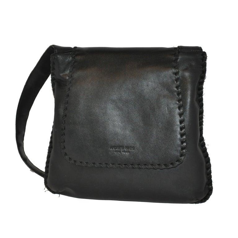Andrew Marc Black Lambskin Shoulder Bag