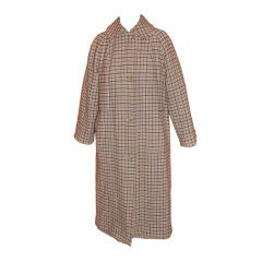 Reversible checkered wool and canvas trench style coat