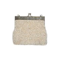 Silver Framed with Seed beading Handbag