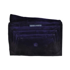 Andrea Pfister Deep-Plum Suede Multi-Compartment Clutch