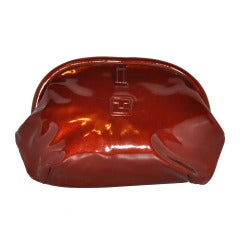 Ted Lapidus Burgundy-Bronze Patent Leather Clutch