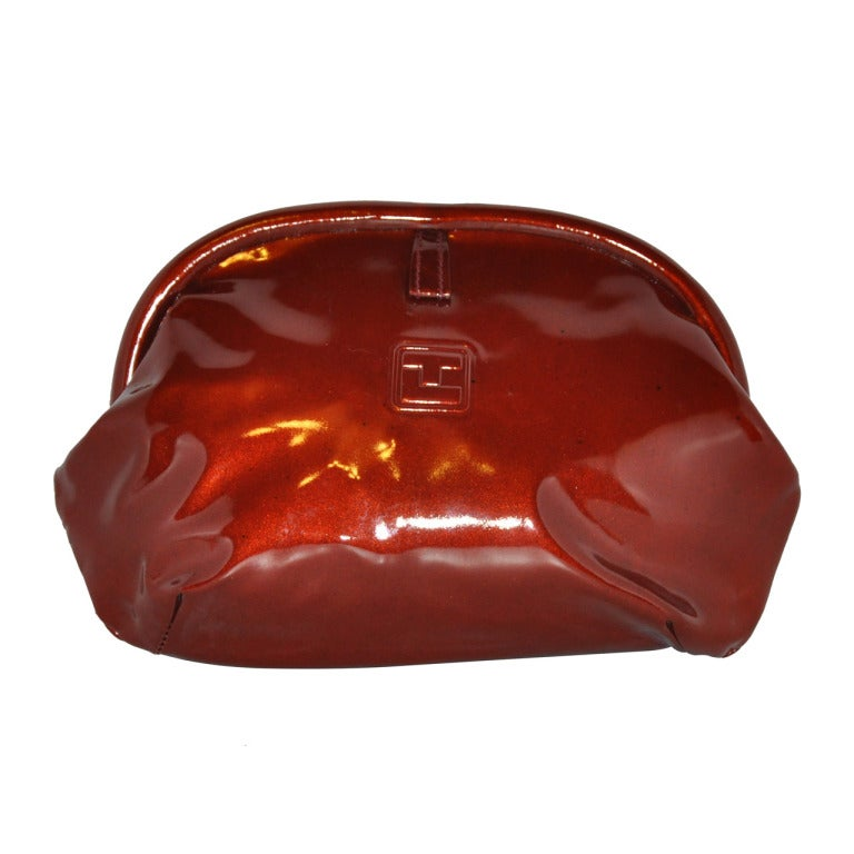 Ted Lapidus Burgundy-Bronze Patent Leather Clutch For Sale