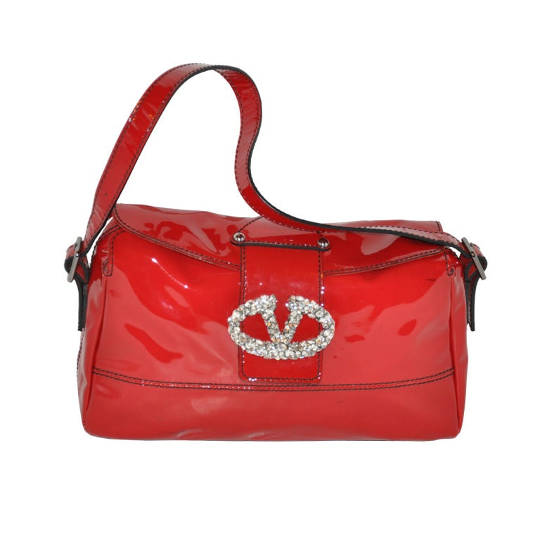 ac8667d40c Valentino Italian-Red Patent Leather with Huge Rhinestone Handbag For Sale  at 1stdibs