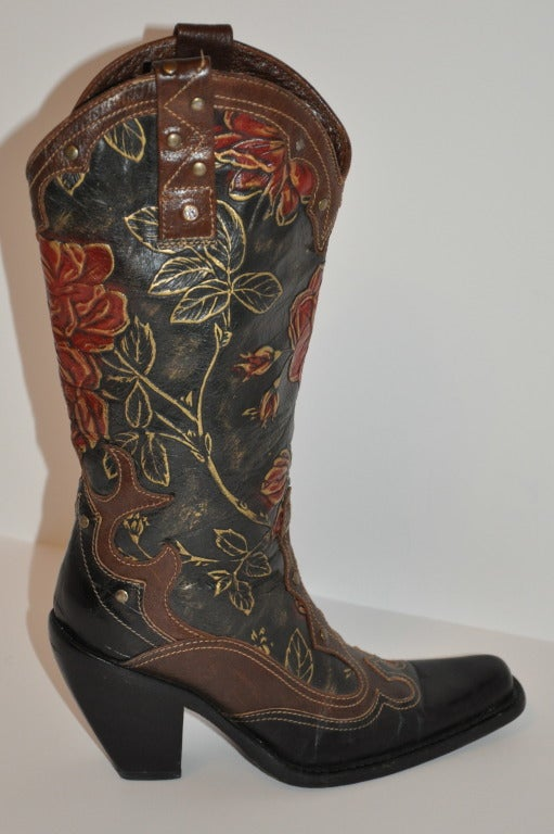 Embossed Calfskin Floral Hand Painted Boots At 1stdibs