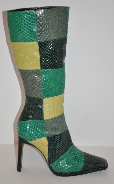 Casadei Multicolor Patch Snakeskin Boots 2