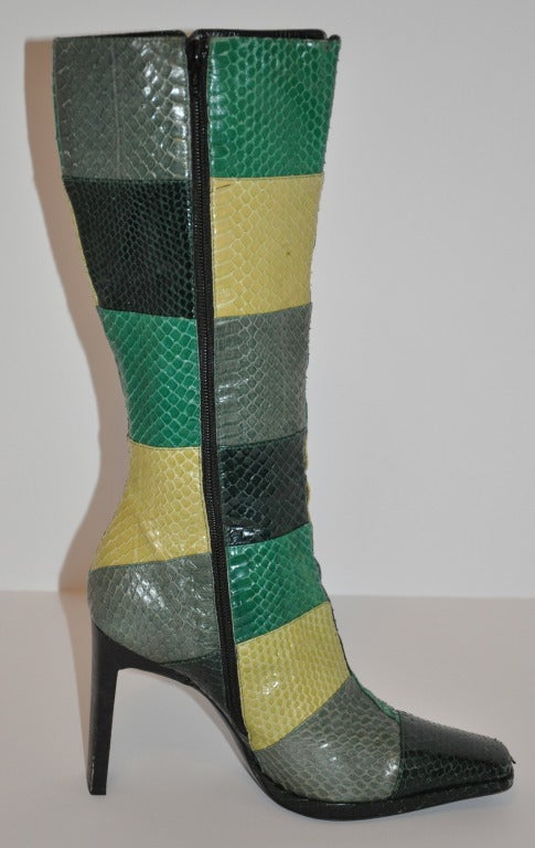 Casadei Multicolor Patch Snakeskin Boots 3