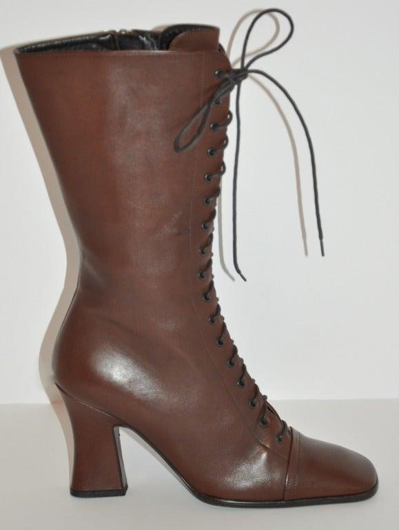 Prada Lace-Up Calfskin Boots 2