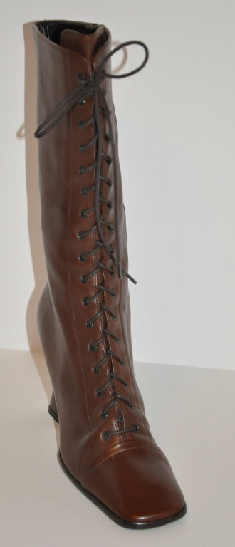 Prada Lace-Up Calfskin Boots 3