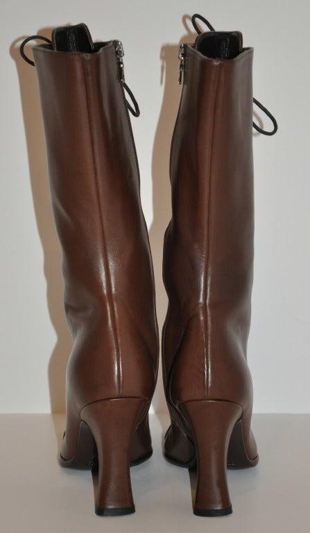 Prada Lace-Up Calfskin Boots 4
