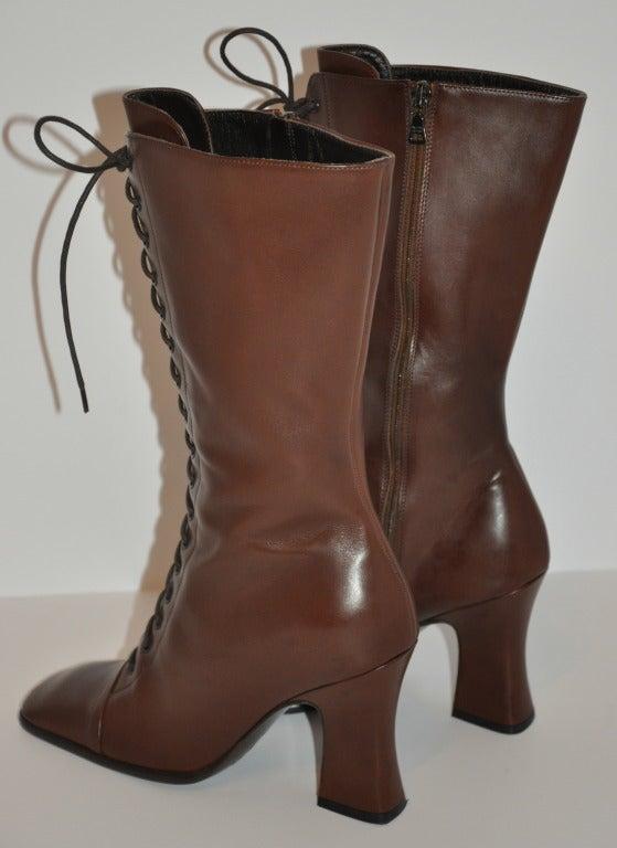 Prada Lace-Up Calfskin Boots 5