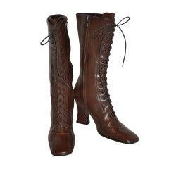 Prada Lace-Up Calfskin Boots