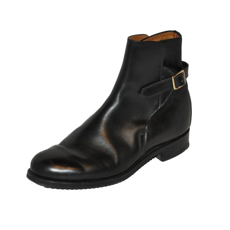 vogue custom made handmade black leather boots at 1stdibs