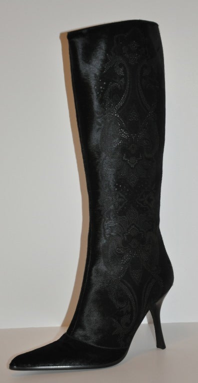"Rare Roberto Cavalli ""Limited Edition"" Stenciled Black Pony-Skin High Boots 5"