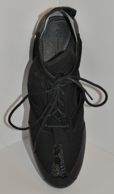 Yohji Yamamoto Black and white Cut-out shoes 5