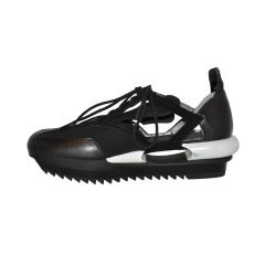Yohji Yamamoto Black and white Cut-out shoes