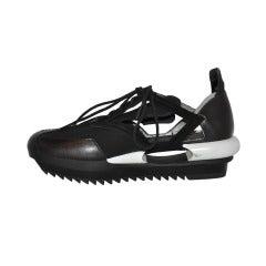 Yohji Yamamoto Black and white Cut-out shoes