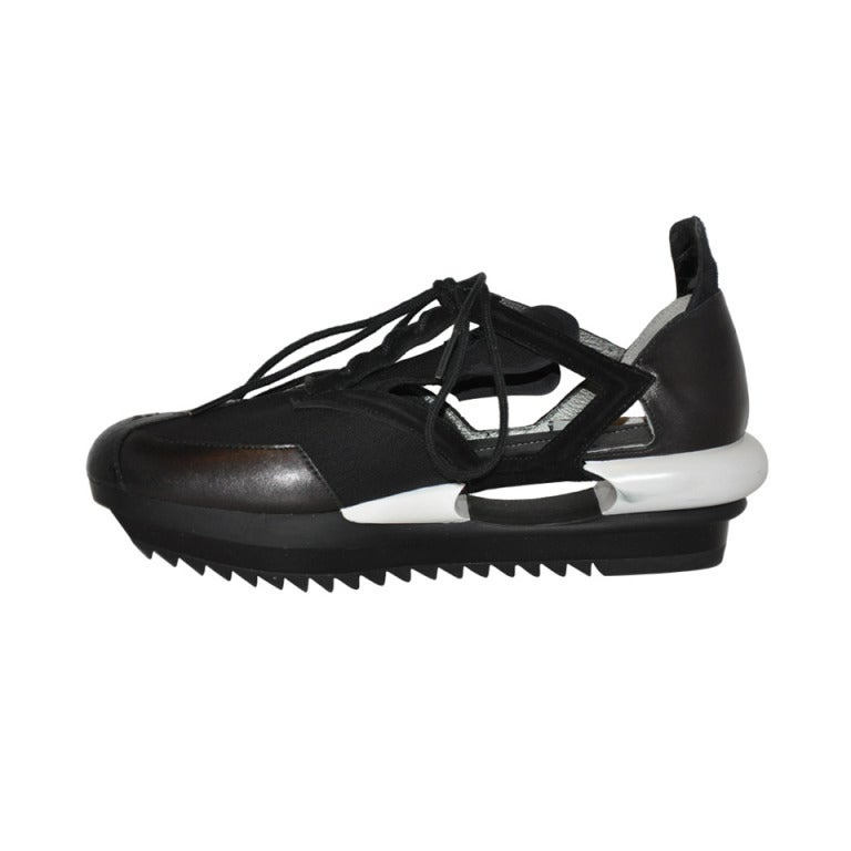 Yohji Yamamoto Black and white Cut-out shoes 1