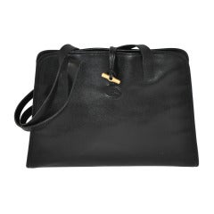 LONGCHAMP Black Calfskin Sectional Shoulder Bag