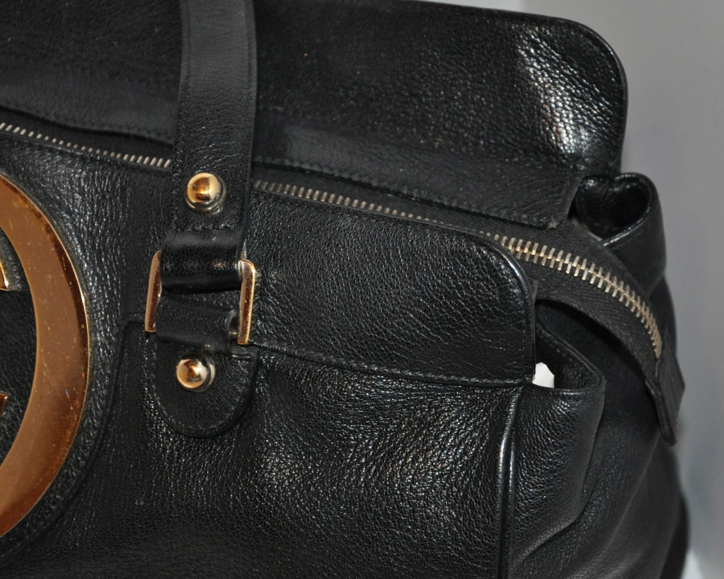 b4970a363e8 Gucci Large Emblem Leather Tote For Sale at 1stdibs