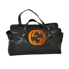 Gucci Large Emblem Leather Tote