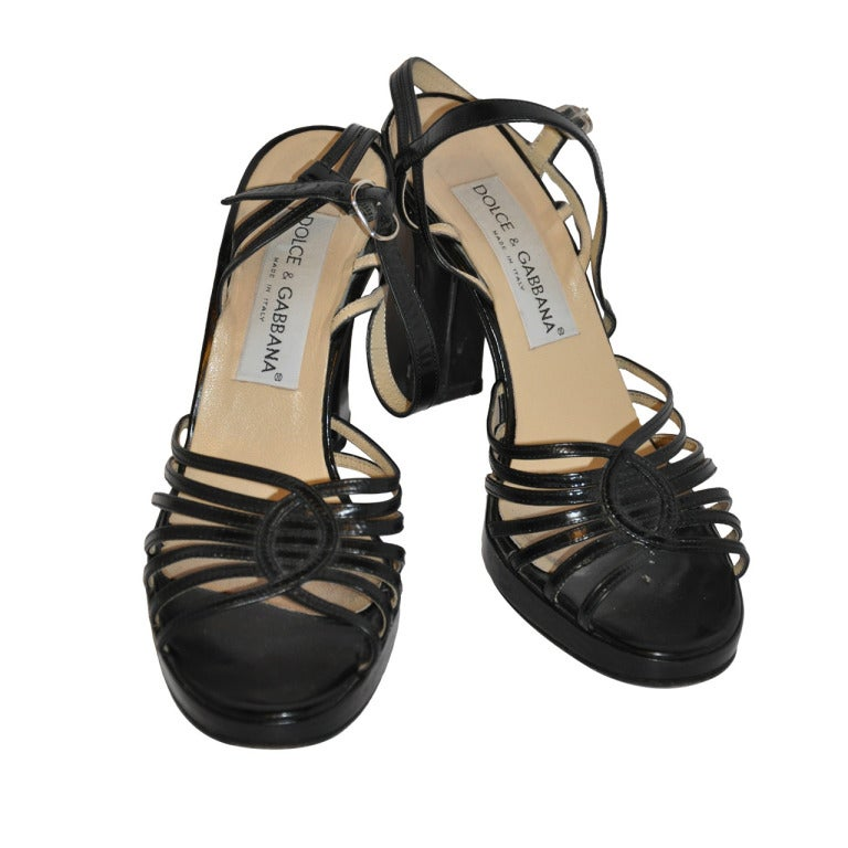 Dolce & Gabbana Black Chunky Sandal For Sale