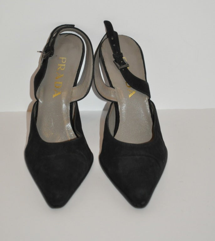 Prada Black Suede Sling-Backs 2