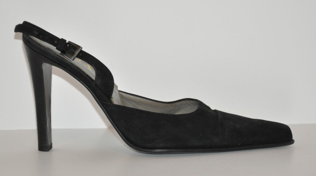 Prada Black Suede Sling-Backs 3
