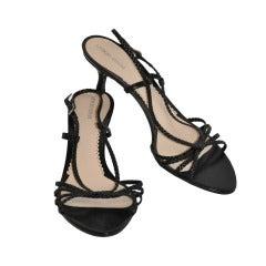 Giorgio Armani Black Woven Calfskin sandal