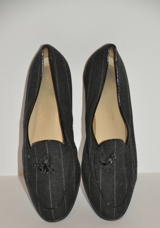 "Bottega Veneta Pinstripe Flats are weightless due to their foam soles. The upper material is of Italian-wool. Size is 39 Italian, American size 9 regular. Heel is 1/2""."